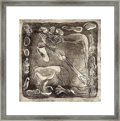 Petroglyph - Horse Takhi And Stones - Prehistoric Art - Cave Art - Rock Art - Cave Painters Framed Print by Urft Valley Art