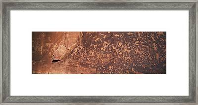Petroglyphs On Newspaper Rock, Utah Framed Print by Panoramic Images