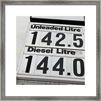Petrol Prices Framed Print by Tom Gowanlock