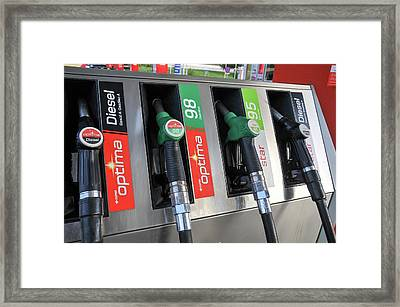 Petrol Station Pumps. Framed Print by Photostock-israel