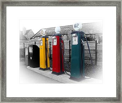 Selective Coloring Framed Print featuring the photograph Petrol Station by Roberto Alamino
