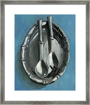 Pewter Dish Framed Print by Karyn Robinson