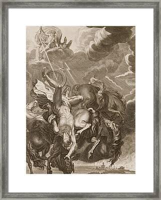 Phaeton Struck Down By Jupiter's Thunderbolt Framed Print by Bernard Picart