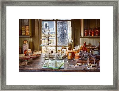 Pharmacist Desk Framed Print by Inge Johnsson