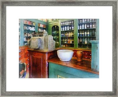 Pharmacist - Mortar And Pestle In Pharmacy Framed Print by Susan Savad