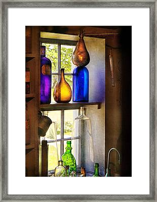 Pharmacy - Colorful Glassware  Framed Print by Mike Savad