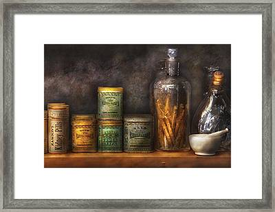 Pharmacy - Cough Drops And Kidney Pills Framed Print by Mike Savad