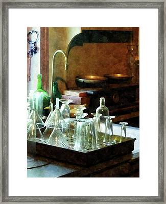 Pharmacy - Glass Funnels And Bottles Framed Print by Susan Savad