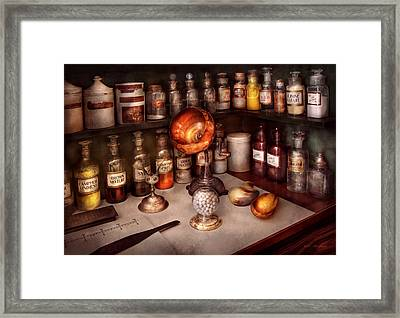 Pharmacy - Items From The Specialist Framed Print by Mike Savad