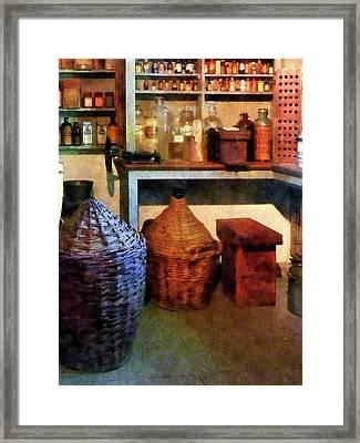 Pharmacy - Medicine Bottles And Baskets Framed Print by Susan Savad