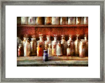 Pharmacy - The Medicine Counter Framed Print by Mike Savad