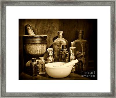 Pharmacy - Tools Of The Pharmacist - Black And White Framed Print by Paul Ward