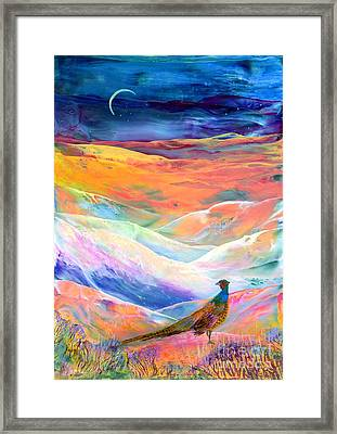 Pheasant Moon Framed Print by Jane Small