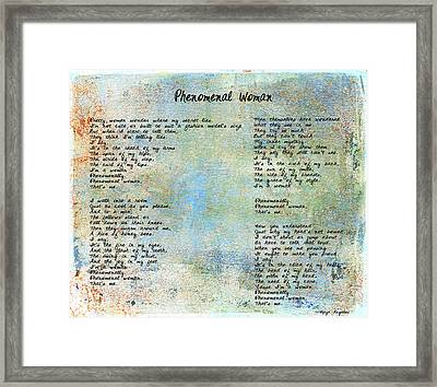 Phenomenal Woman - Blue Rustic Framed Print by Paulette B Wright