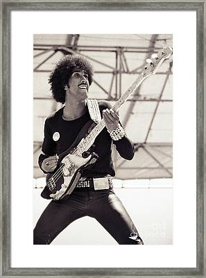 Phil Lynott Of Thin Lizzy Black Rose Tour At Day On The Green 4th Of July 1979 - Unreleased No 2 Framed Print by Daniel Larsen