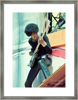 Phil Lynott Of Thin Lizzy - Black Rose Tour Day On The Green 7-4-79  Framed Print by Daniel Larsen
