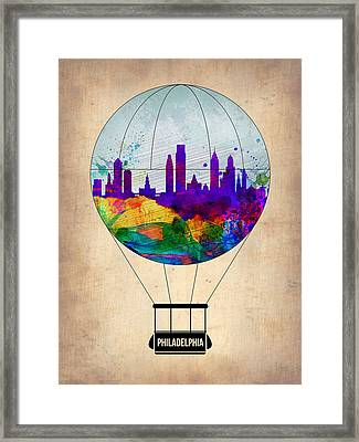 Philadelphia Air Balloon Framed Print by Naxart Studio