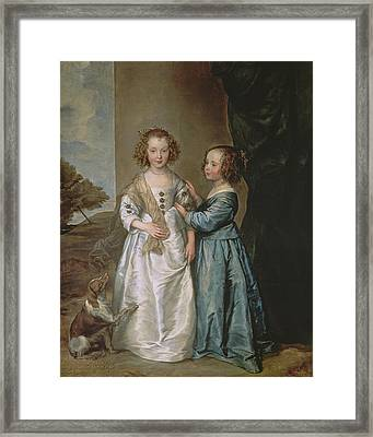 Philadelphia And Elisabeth Wharton, 1640 Framed Print by Sir Anthony van Dyck