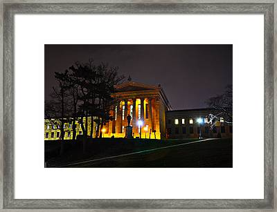 Philadelphia Art Museum  At Night From The Rear Framed Print by Bill Cannon