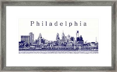 Philadelphia Blueprint  Framed Print by Olivier Le Queinec