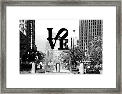 Philadelphia Love Bw Framed Print by John Rizzuto