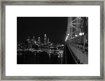 Philadelphia Night B/w Framed Print by Jennifer Ancker