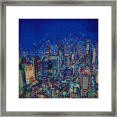 Philadelphia Panorama Pop Art 2 Framed Print by Bekim Art