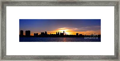 Philadelphia Panoramic Sunset Framed Print by Olivier Le Queinec