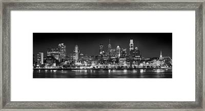 Philadelphia Philly Skyline At Night From East Black And White Bw Framed Print by Jon Holiday