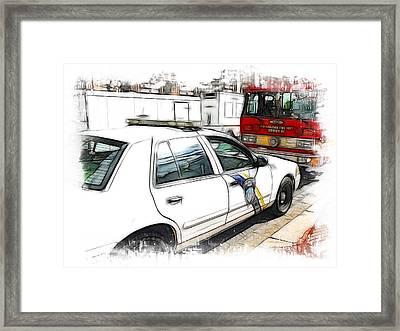 Philadelphia Police Car Framed Print by Fiona Messenger