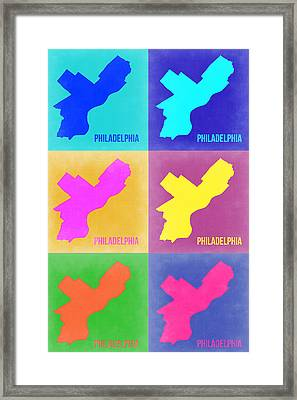 Philadelphia Pop Art Map 3 Framed Print by Naxart Studio