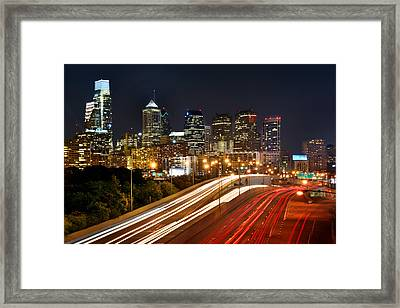 Philadelphia Skyline At Night In Color Car Light Trails Framed Print by Jon Holiday