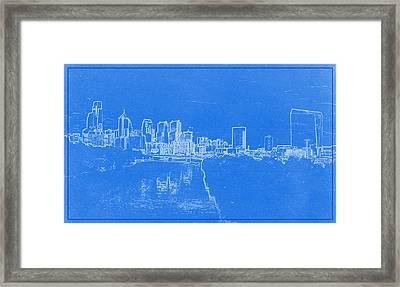 Philadelphia Skyline Blueprint Framed Print by Celestial Images