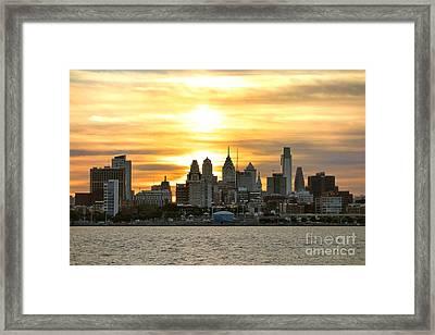 Philadelphia Sunset Framed Print by Olivier Le Queinec