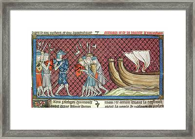 Philip II Arrives In Palestine Framed Print by British Library