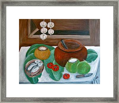 Philippine Still Life With Fish And Coconuts Framed Print by Victoria Lakes