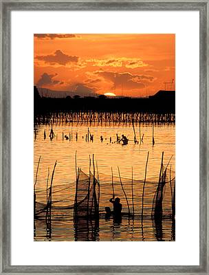 Philippines Manila Fishing Framed Print by Anonymous