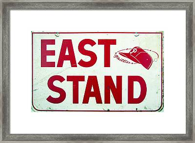 Phillies East Stand Sign - Connie Mack Stadium Framed Print by Bill Cannon