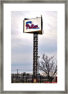 Phillies Stadium Sign Framed Print by Bill Cannon