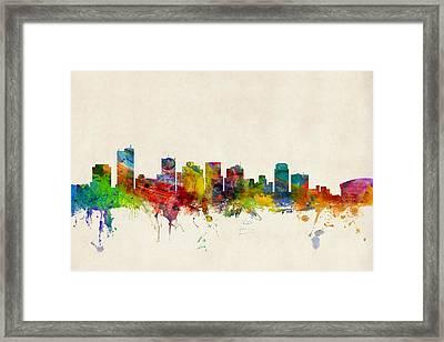 Phoenix Arizona Skyline Framed Print by Michael Tompsett