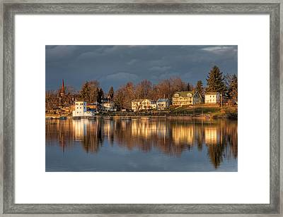 Reflection Of A Village - Phoenix Ny Framed Print by Everet Regal