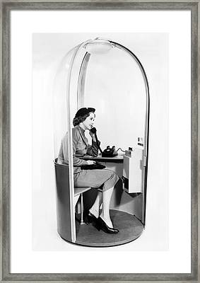 Phone Booth Of The Future Framed Print by Underwood Archives