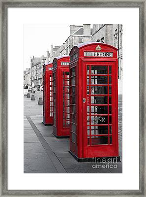 Phone Boxes On The Royal Mile Framed Print by Jane Rix