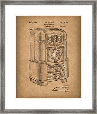 Phonograph Cabinet 1940 Patent Art Brown Framed Print by Prior Art Design