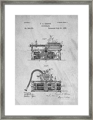 Phonograph Patent 1888 Thomas Edison Framed Print by Edward Fielding