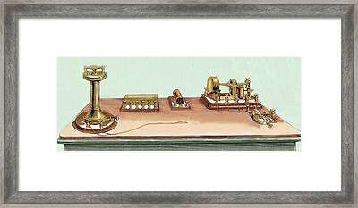 Phonoplex Telegraph Invented By Thomas Framed Print by Prisma Archivo