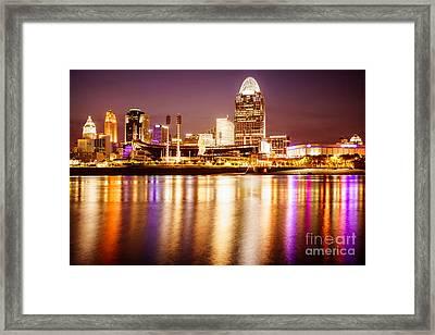 Photo Of Cincinnati Skyline At Night Framed Print by Paul Velgos