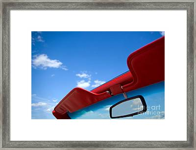 Photo Of Convertible Car And Blue Sky Framed Print by Paul Velgos
