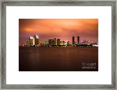 Photo Of San Diego At Night Framed Print by Paul Velgos
