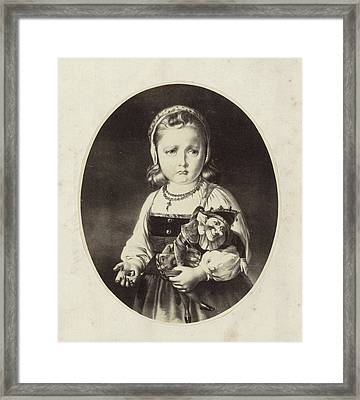 Photo Reproduction Of A Painting Of A Girl With A Jan Framed Print by Artokoloro